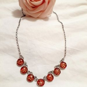 Vintage 925 silver/real flowers necklace